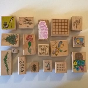 lot of rubber stamps mixed variety holiday floral